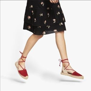 Shoes - Red Lace Up Espadrille Sandals